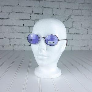 Joe's Jeans Oval Wire Frame Sunglasses Blue/Slvr